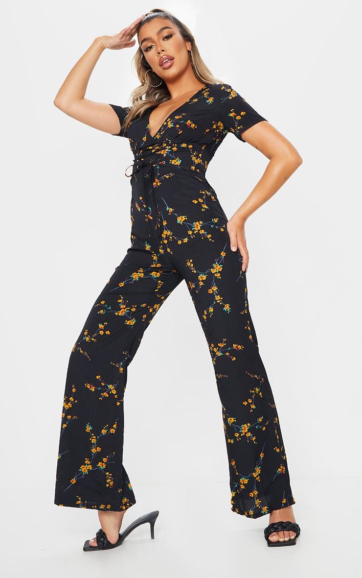Black Floral Corset Flare Jumpsuit 3
