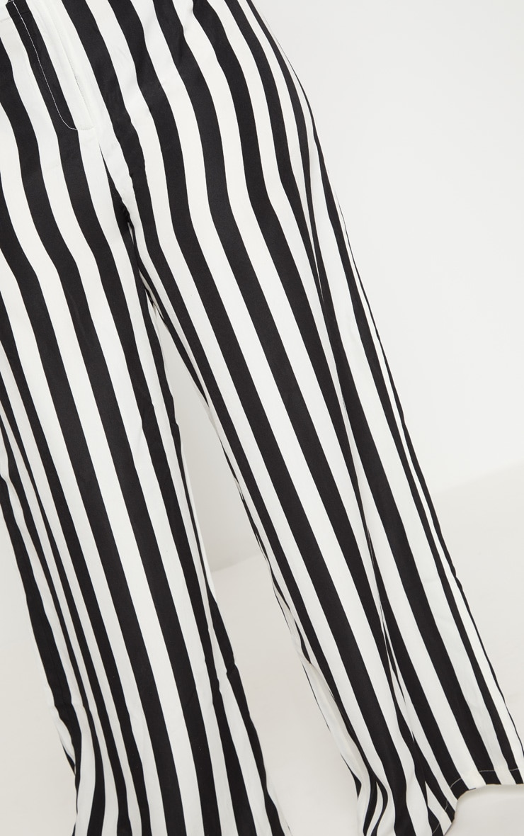 Plus Black Striped Wide Leg Trousers    5