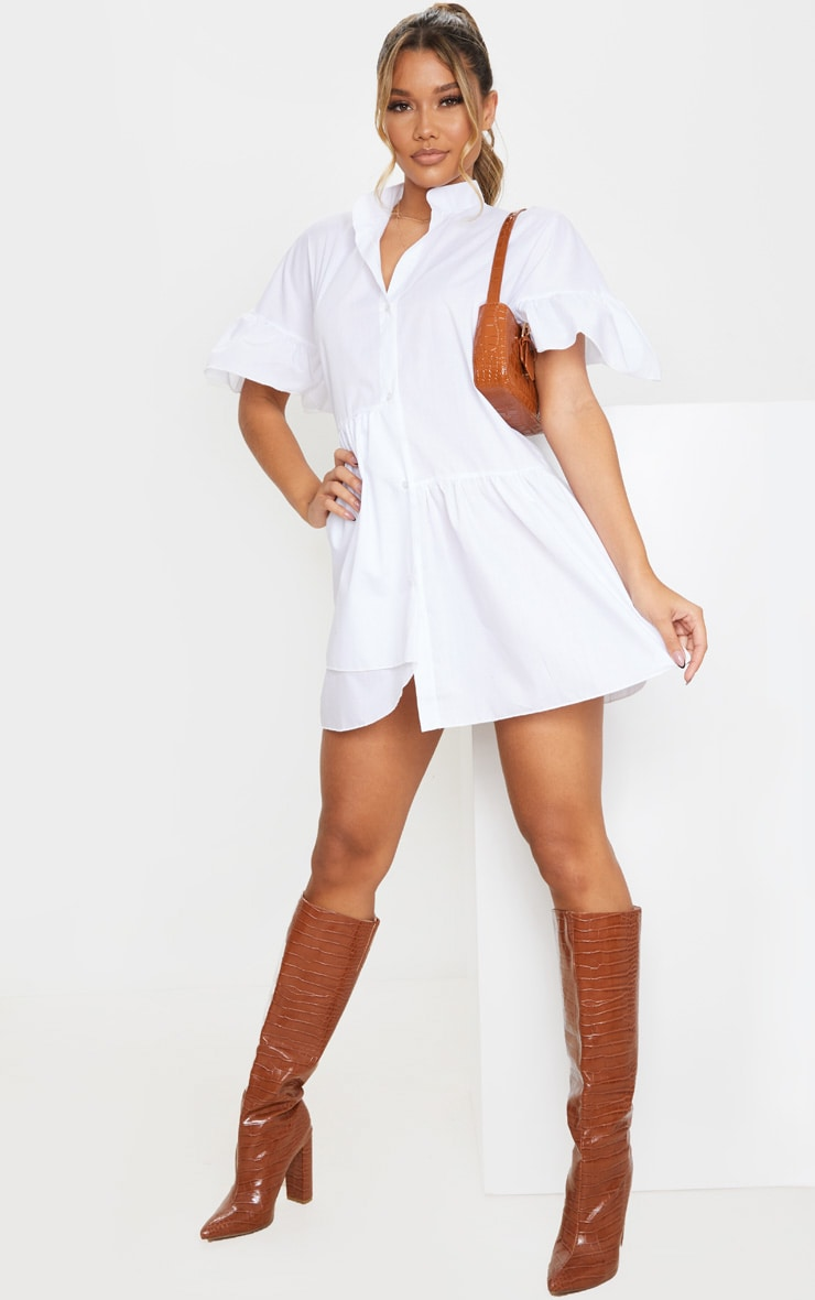 White Frill Detail Drop Hem Button Front Shirt Smock Dress image 3
