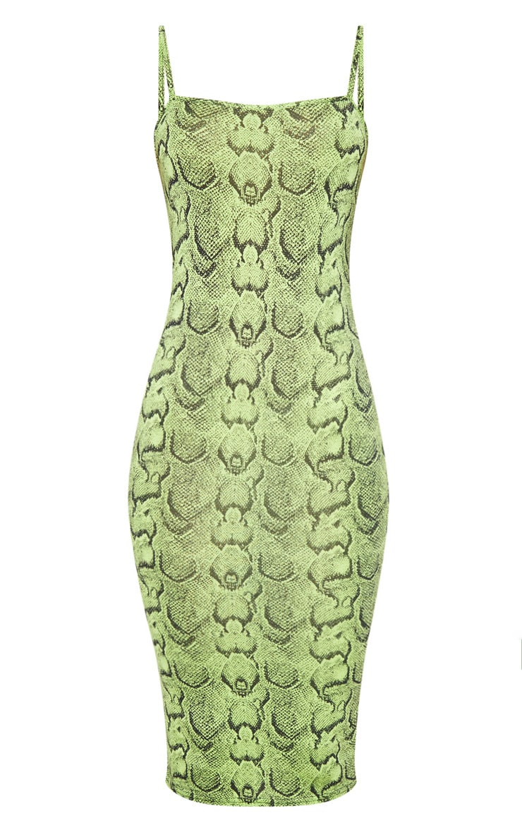 Lime Snake Print Strappy Midi Dress 3