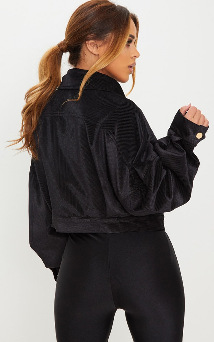 Petite Black Cropped Cord Oversized Trucker Jacket 2