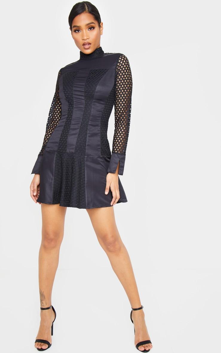 Black Panelled Frill Hem High Neck Bodycon Dress 1