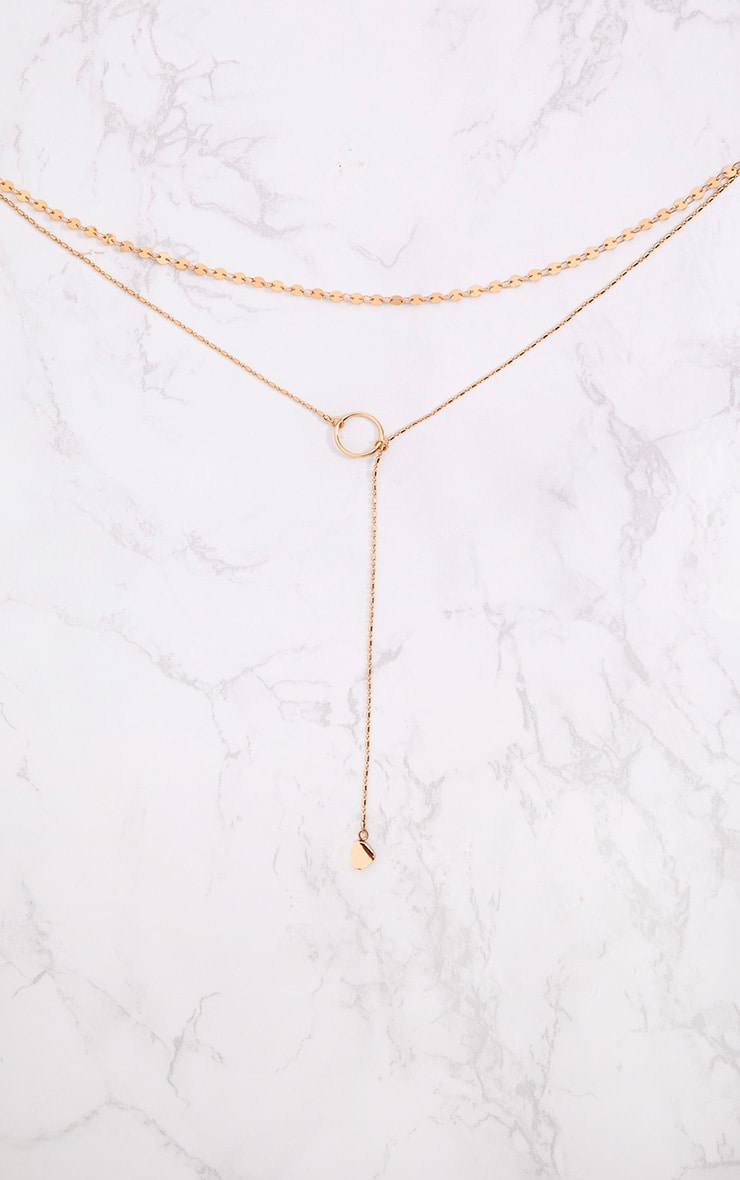 Gold Double Layer Hoop Heart Drop Choker 2
