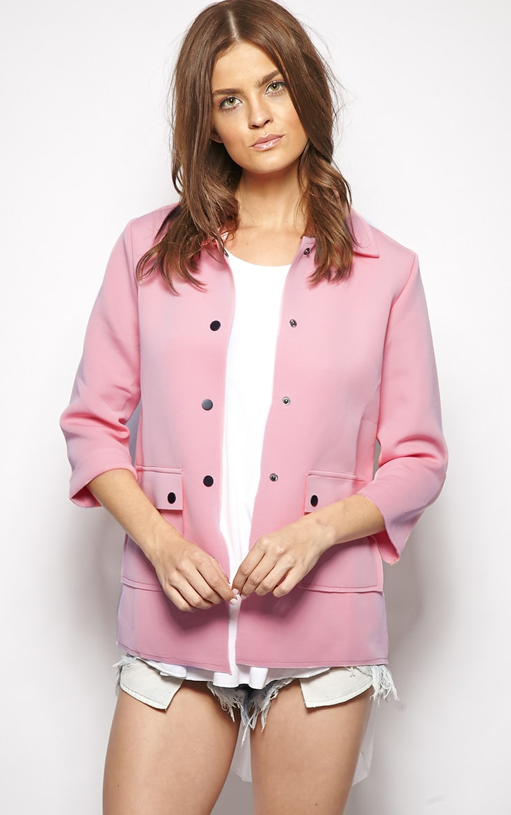 Kiara Pink Scuba Raw Edge Jacket 1