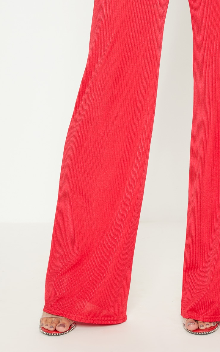 Red Rib Slinky Wide Leg Trouser 5