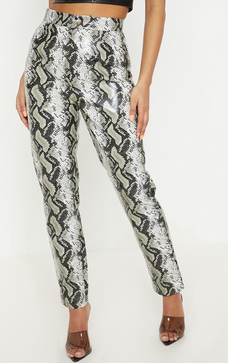 Black Faux Leather Snake Print Slim Leg Trouser  2