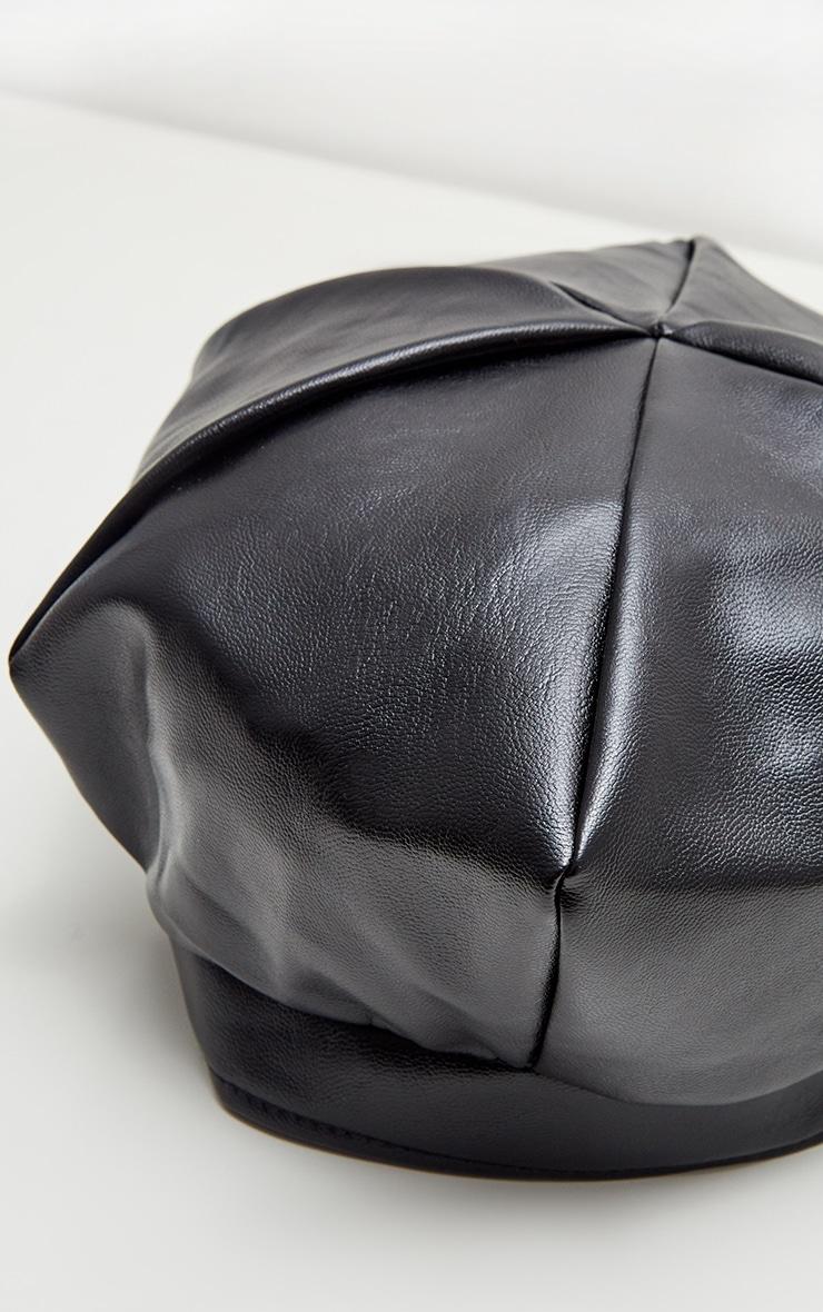 Béret en similicuir noir 4
