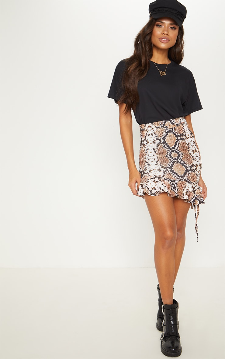 Snake Print Ruched Detail Mini Skirt 6