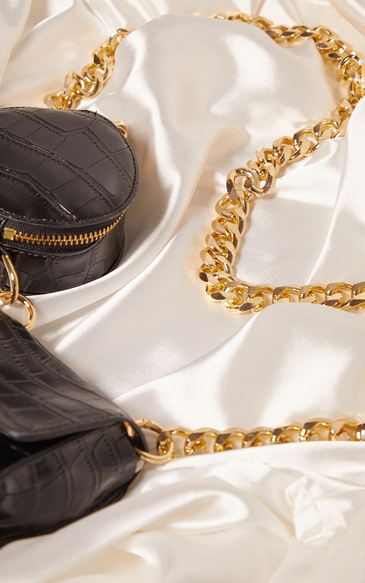 Black Croc Multi Pocket Chunky Chain Cross Body Bag 3