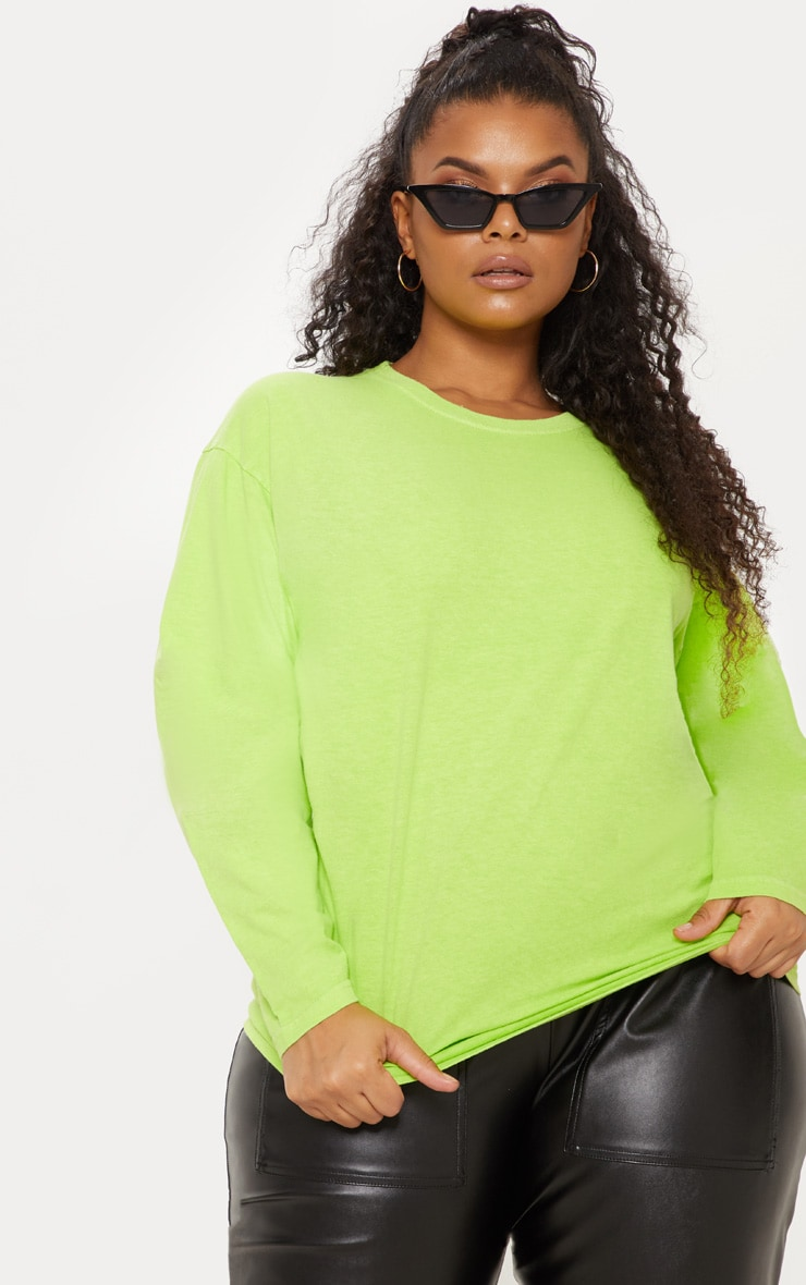 Plus Neon Lime Long Sleeve T-Shirt 4