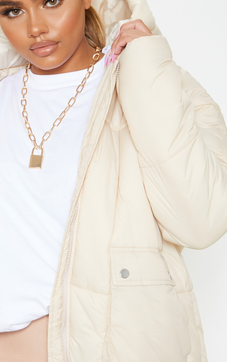 Cream Pocket Front Hooded Puffer 6