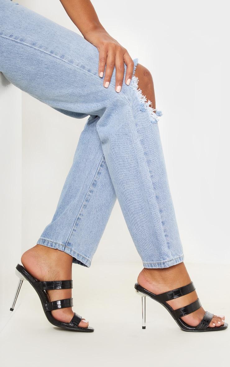 Black Triple Strap Metal Heel Mule Sandal 1