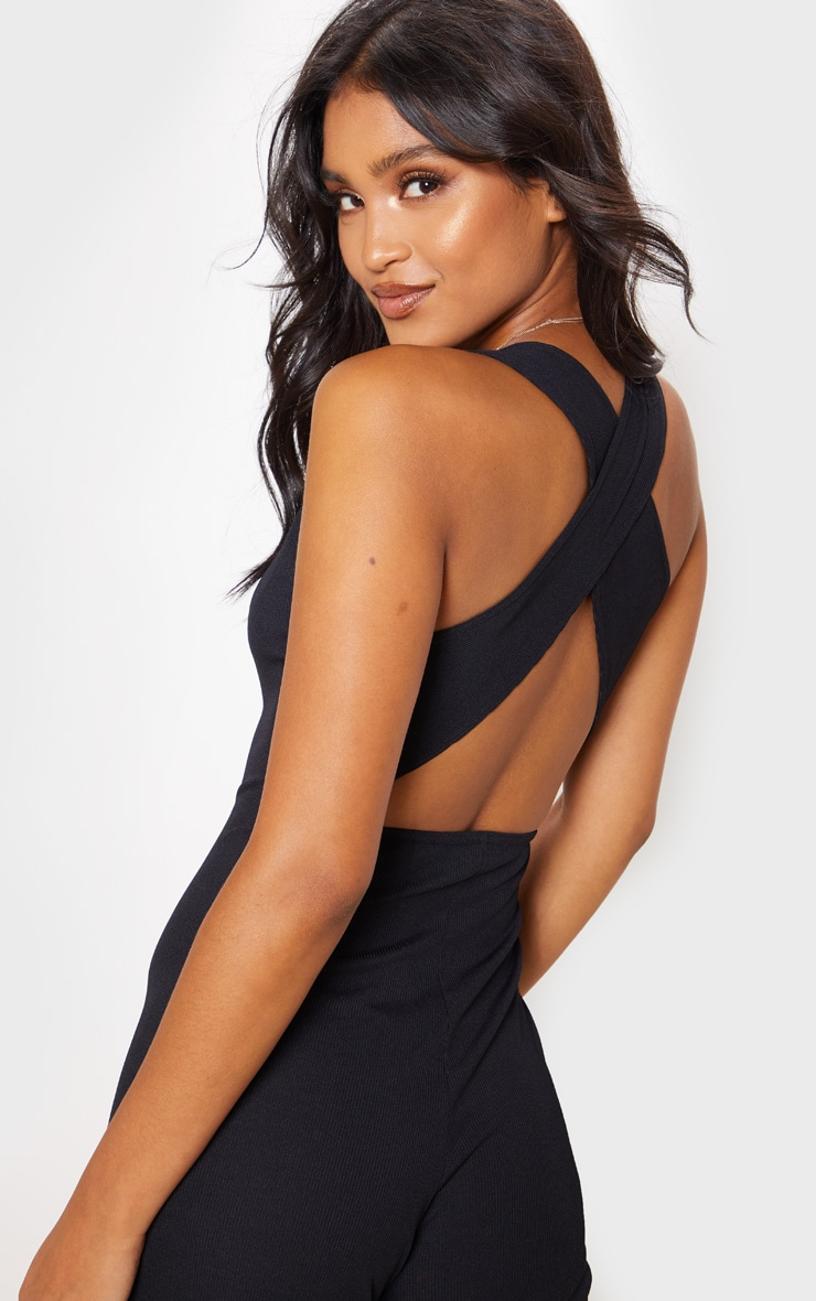 Black Cross Back Rib Jumpsuit 5