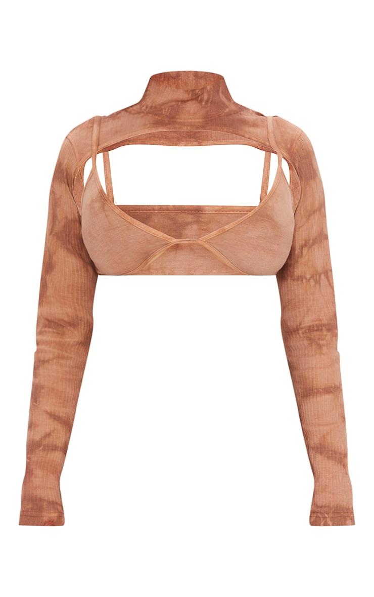Shape Brown Tie Dye Rib Bralet Cut Out Crop Top 5