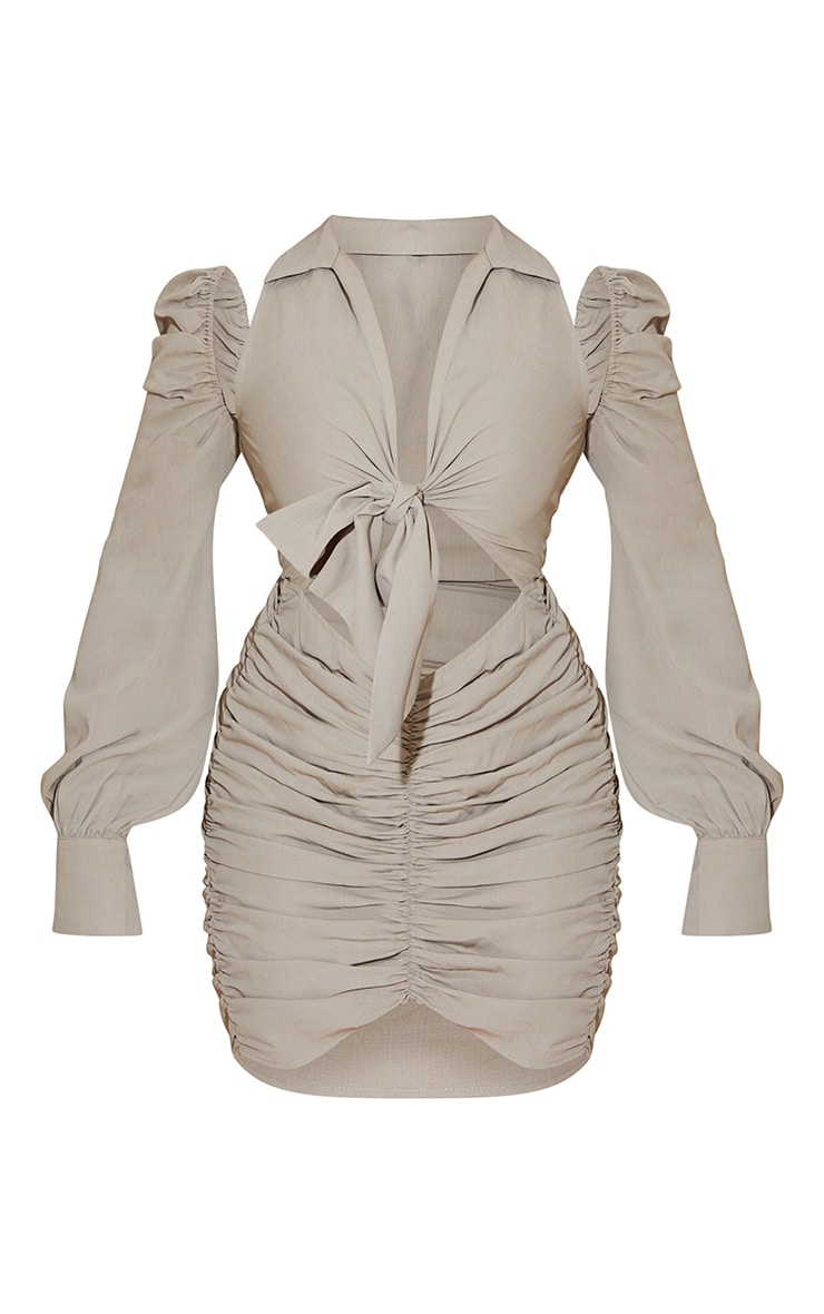 Stone Woven Cut Out Shoulder Detail Plunge Tie Front Bodycon Dress 5