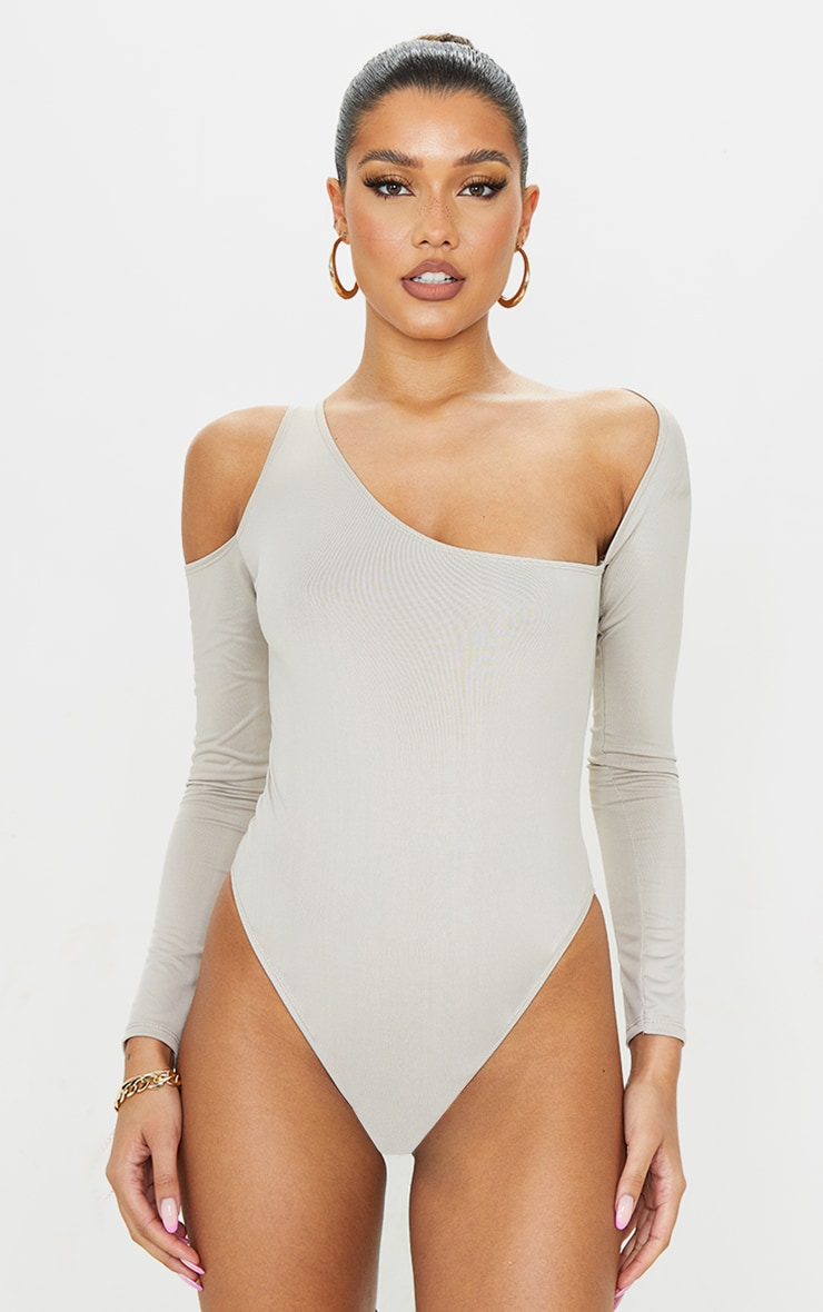 Stone Slinky Asymmetric Neck Long Sleeve Bodysuit 2