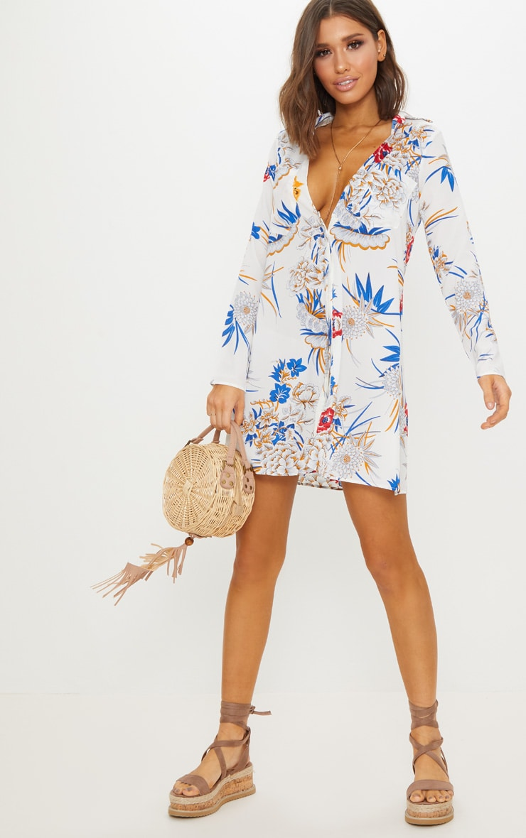 White Floral Print Chiffon Shirt Dress