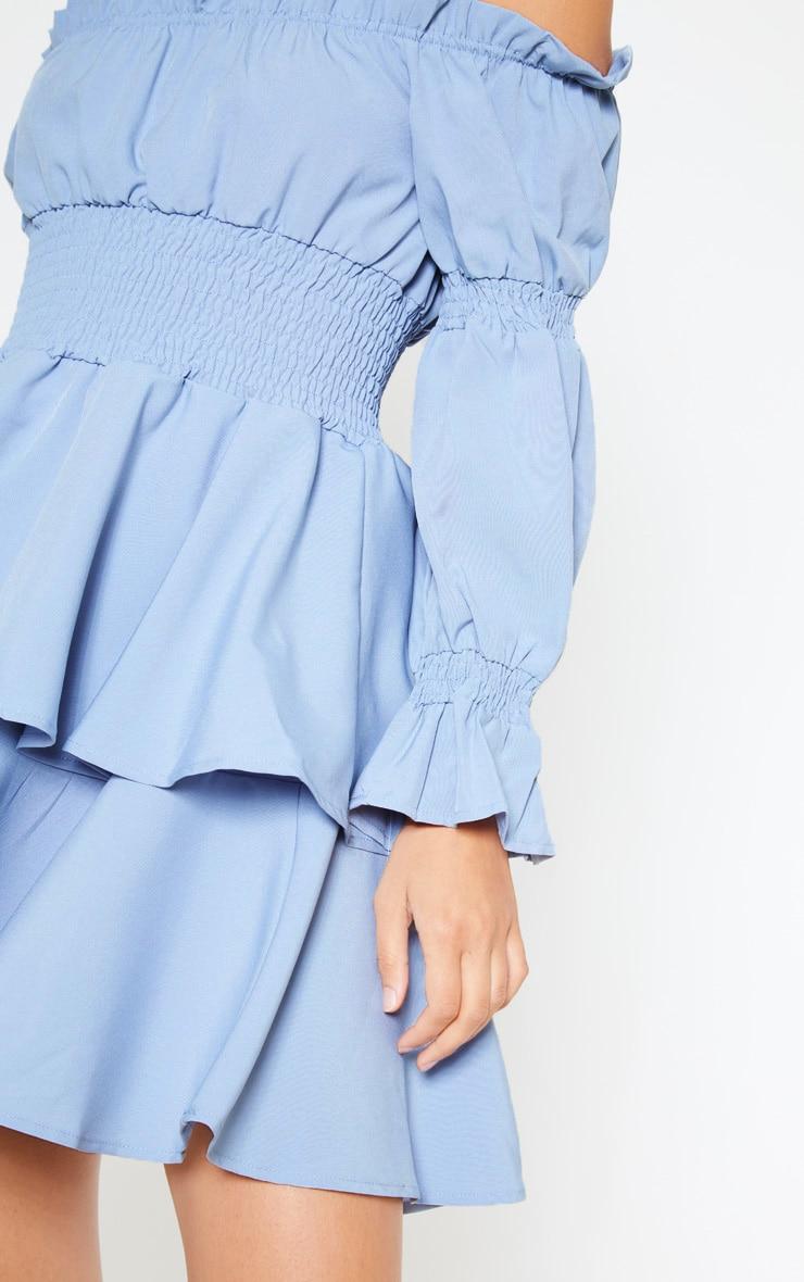 Blue Shirred Bardot Skater Dress 5