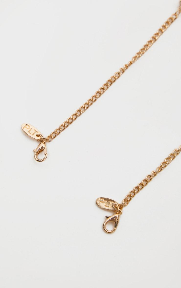 Gold Diamante Chain Double Layer Necklace 4