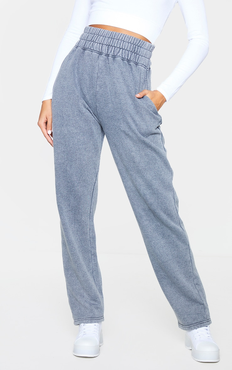 Charcoal High Waisted Washed Straight Leg Joggers 2