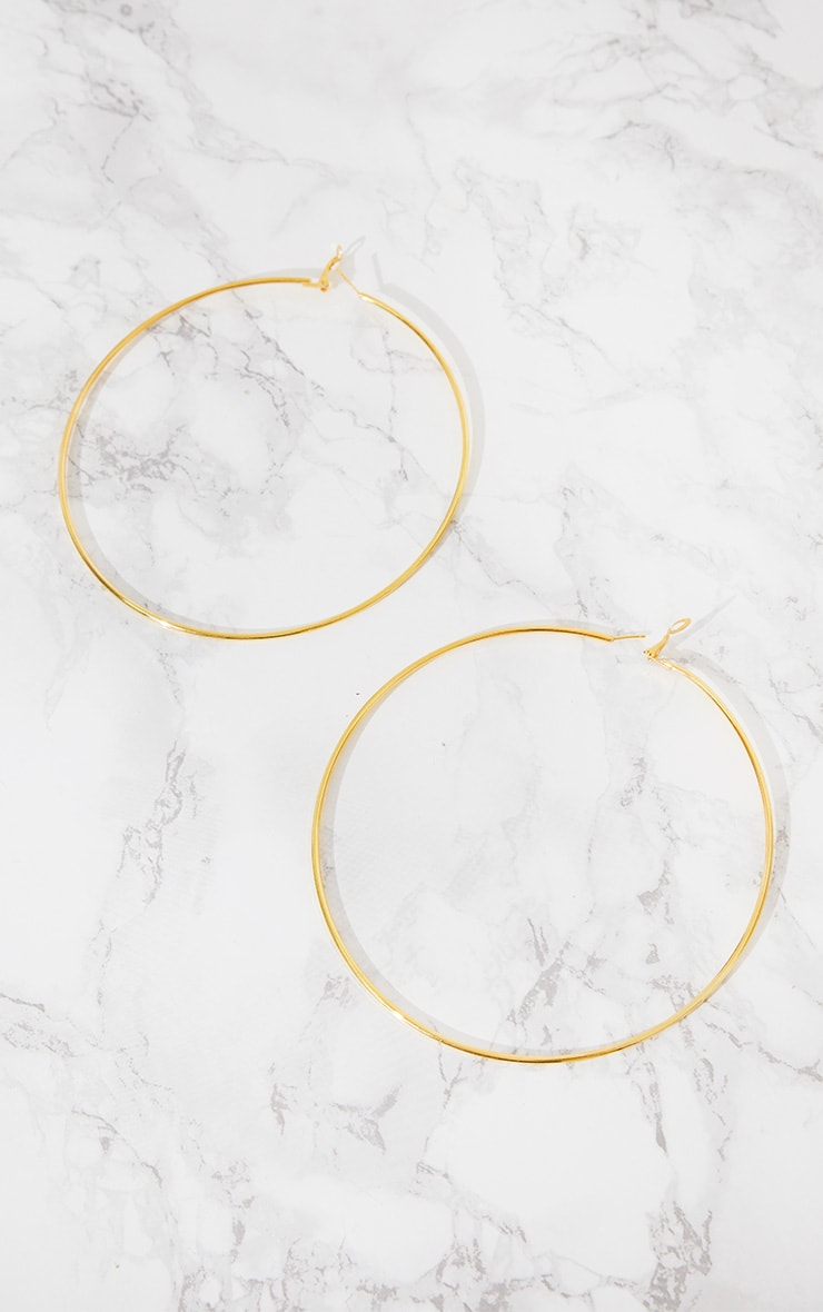 Gold 120mm Large Hoop Earrings 4