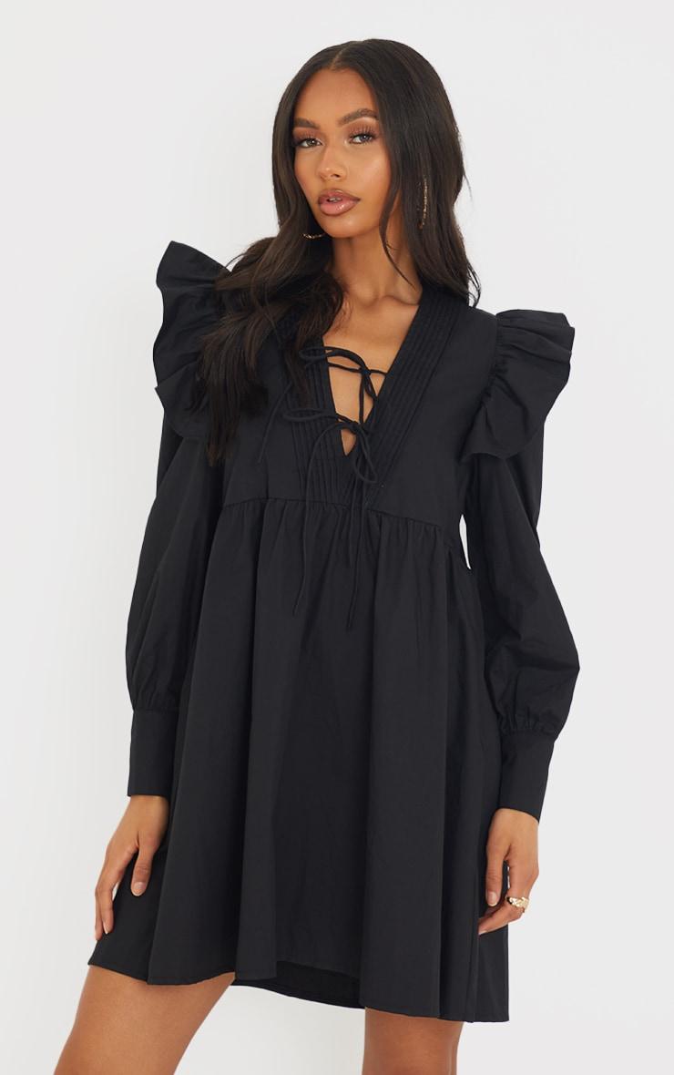 Black Woven Frill Sleeve Pleated Detail Shirt Dress 1