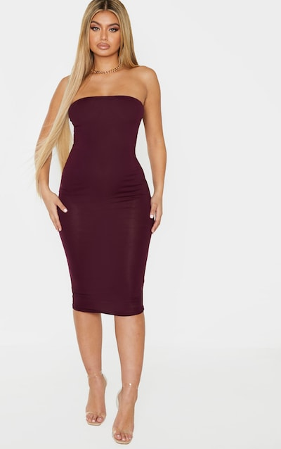Plum Basic Bandeau Midaxi Dress