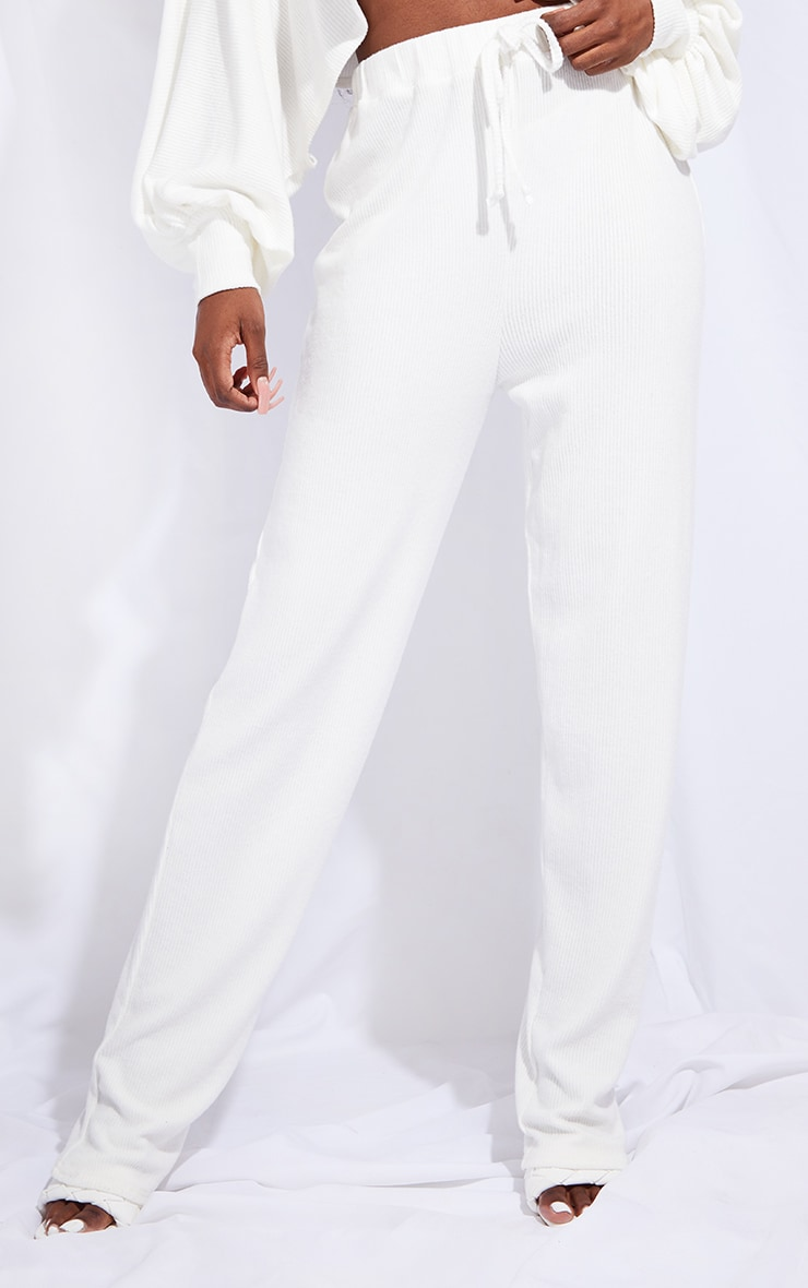 Tall Cream Ruched Waist Brushed Rib Wide Leg Trousers 2