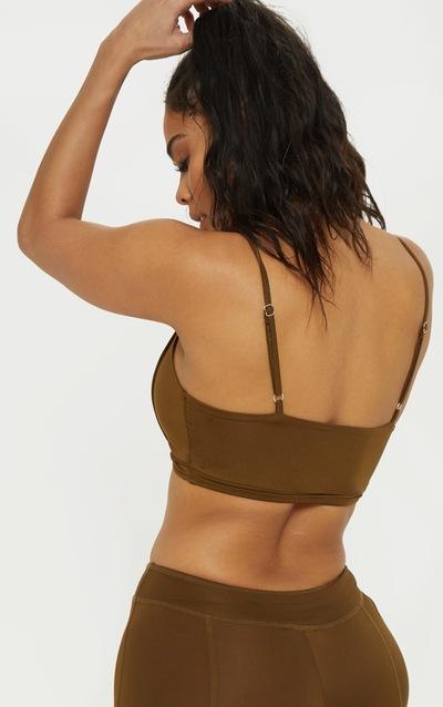 Khaki Binding Detail Gym Crop Top