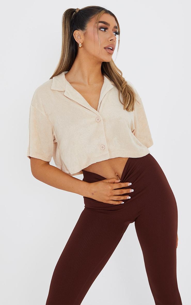 Beige Towelling Oversized Short Sleeve Crop Shirt 1