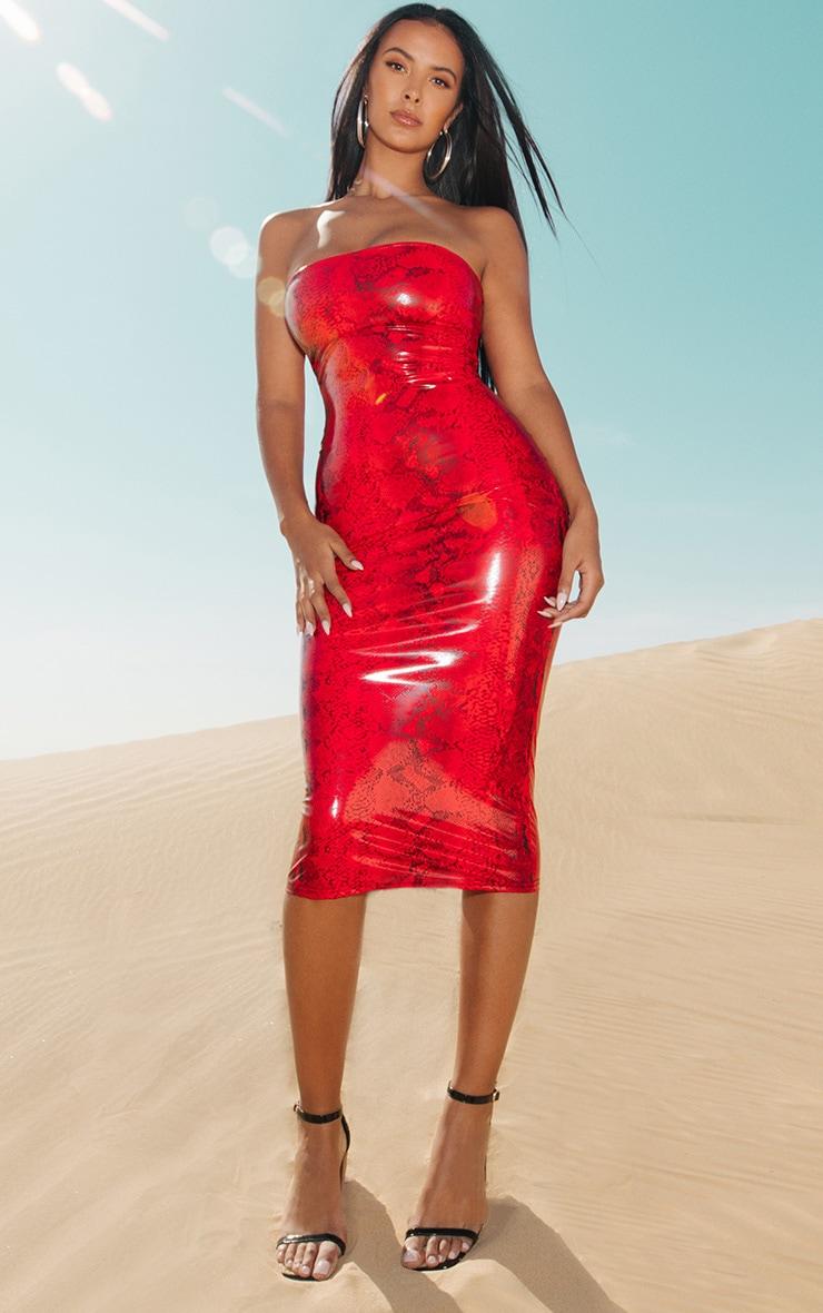 4bce1f4479a Red Snake Vinyl Bandeau Midi Dress image 1