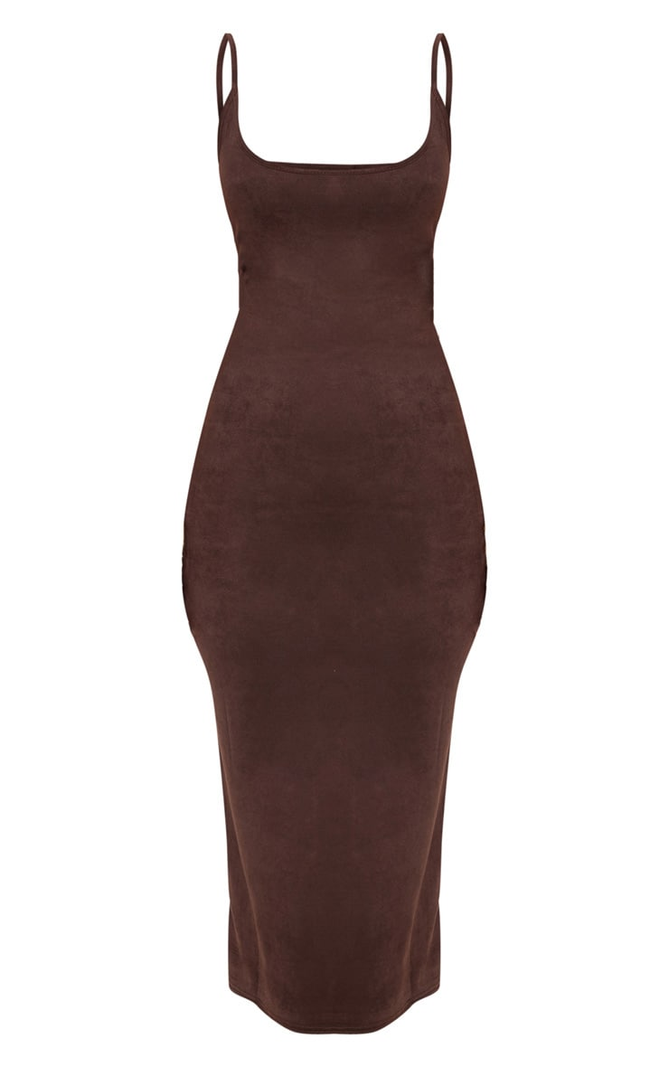 Chocolate Strappy Faux Suede Midi Dress 3