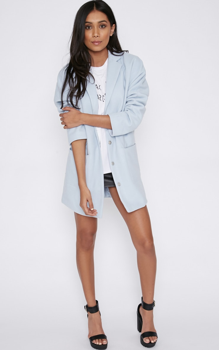 Hope Ice Blue Boyfriend Coat  3
