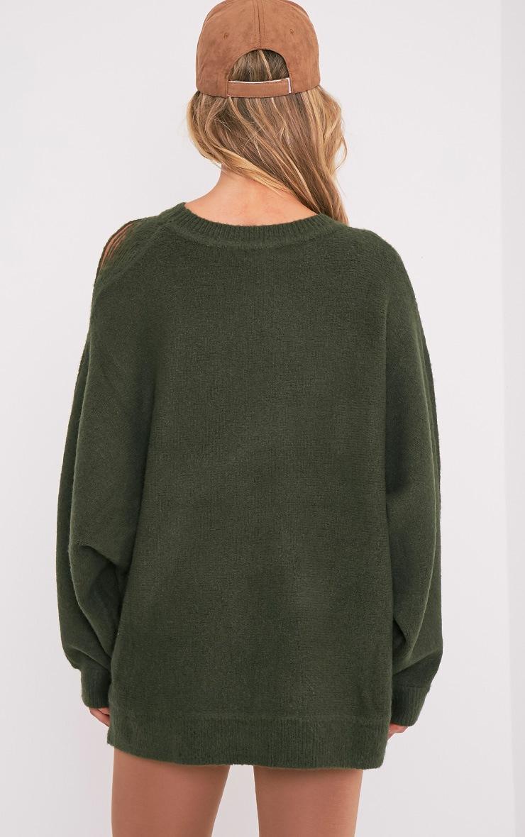 Raysa Khaki Distressed Oversized Knitted Jumper 2