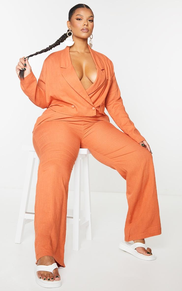 Plus Burnt Orange Elasticated Waist Wide Leg Pants 1