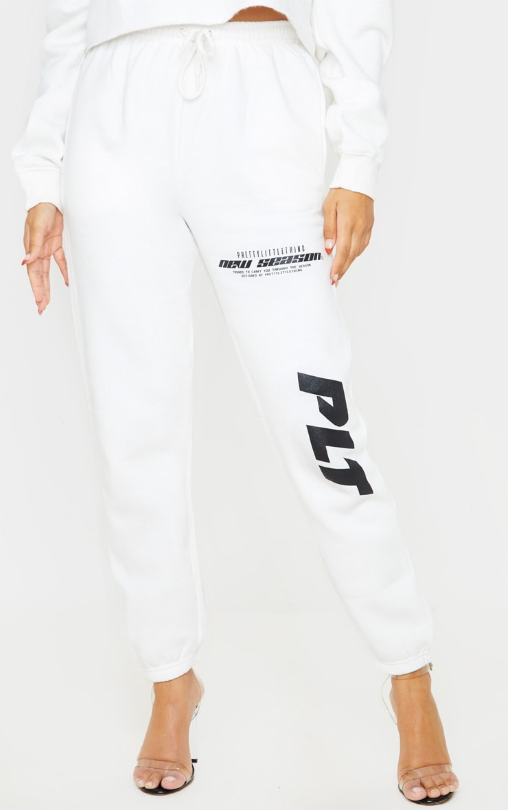 PRETTYLITTLETHING Cream New Season Slogan Joggers 2