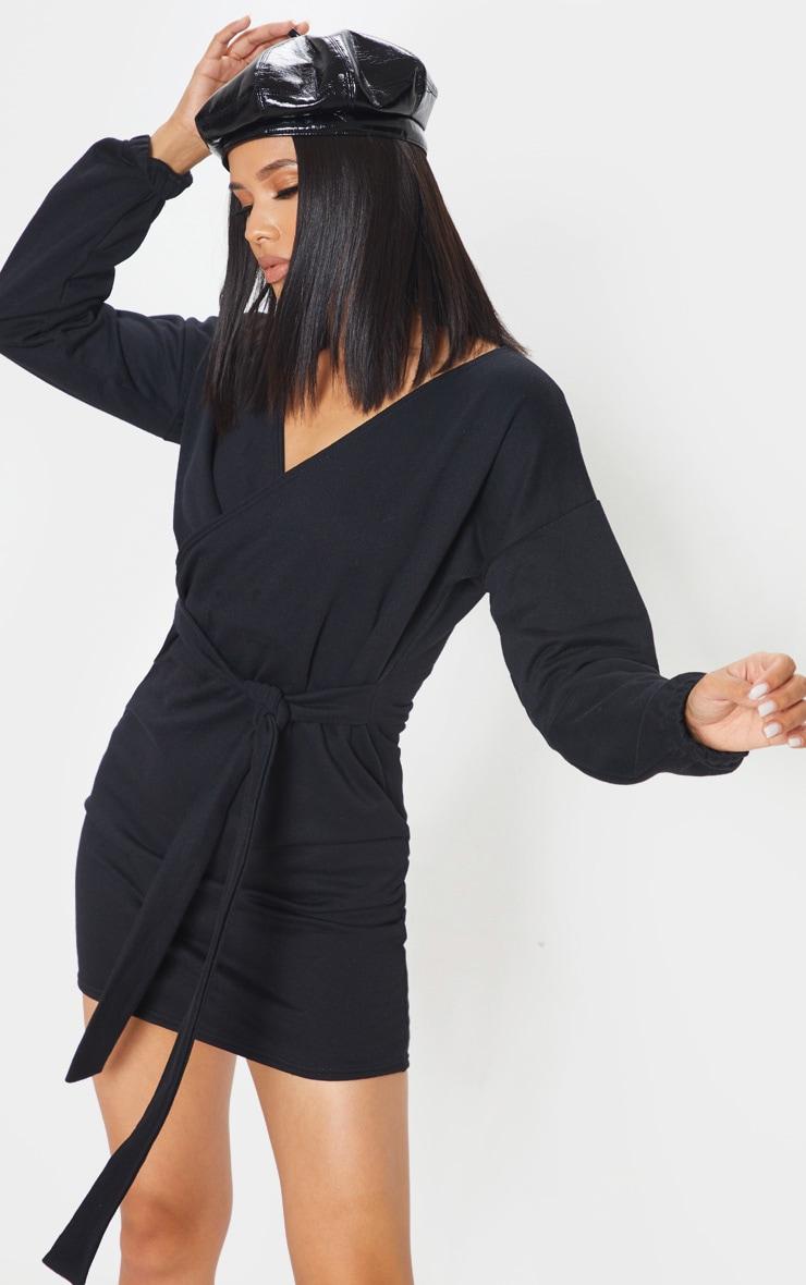 Black Sweat Wrap Bodycon Dress 1