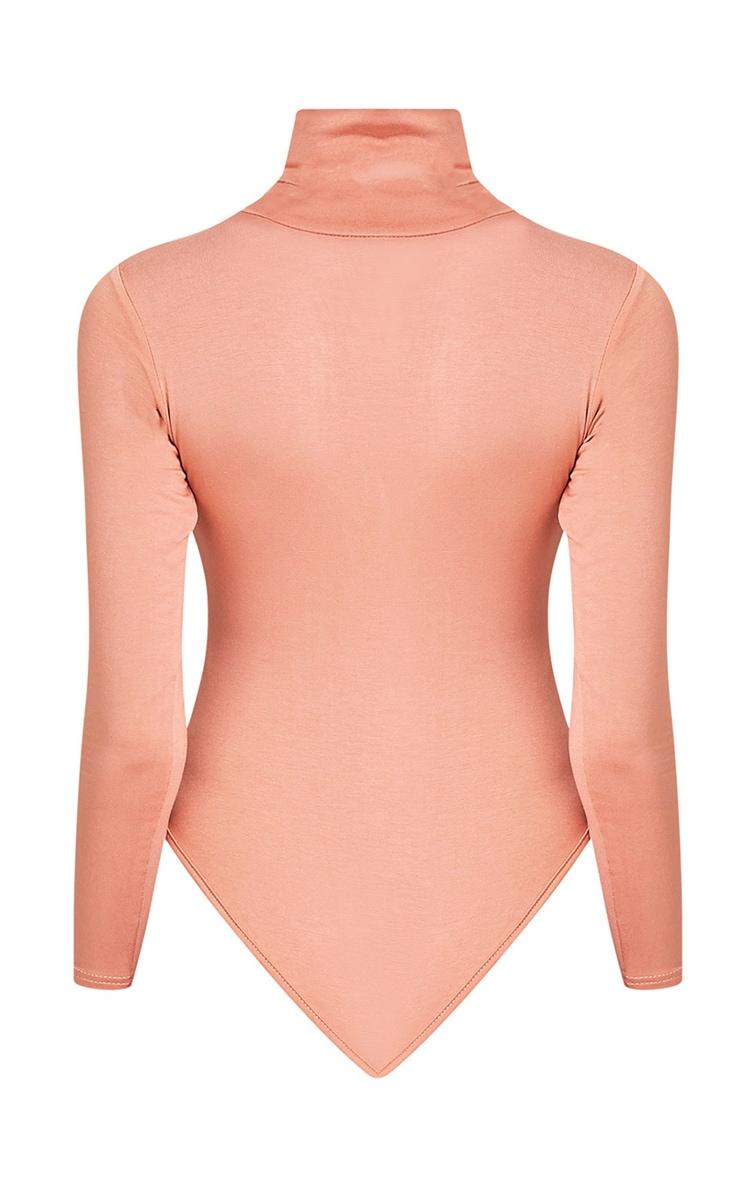 Basic Peach Roll Neck Thong Bodysuit 4
