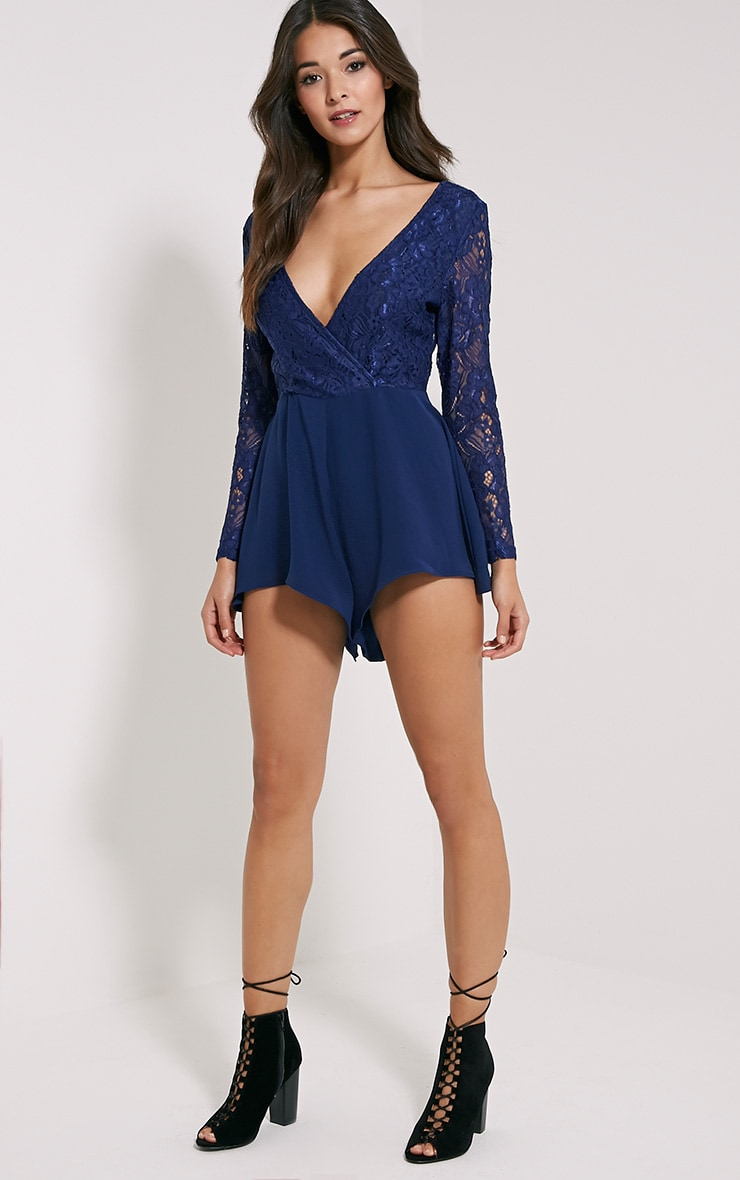 Angelica Navy Lace Up Back Playsuit 3