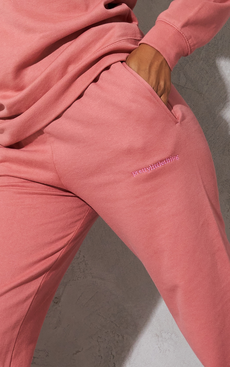 PRETTYLITTLETHING Dusty Pink Embroidered Cuffed High Waisted Drawstring Joggers 4