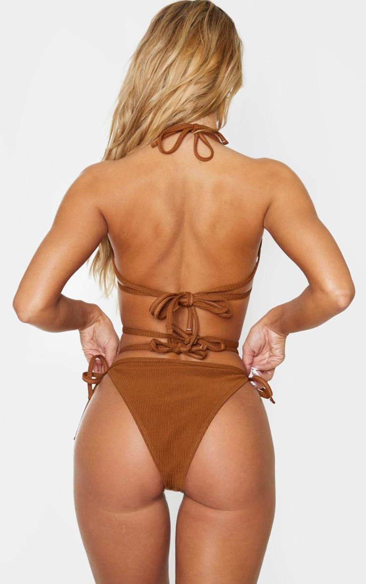 Brown Ribbed Ring Tanga Bikini Bottoms 3