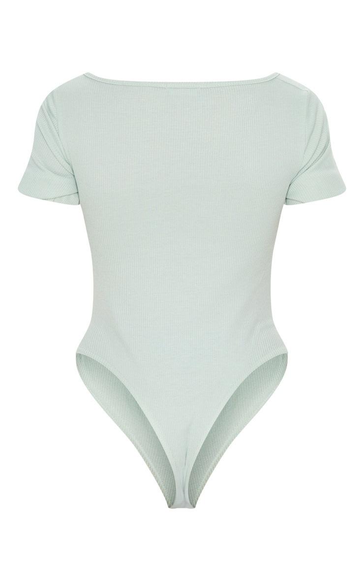 Sage Khaki Rib Ruched Front Short Sleeve Bodysuit 4