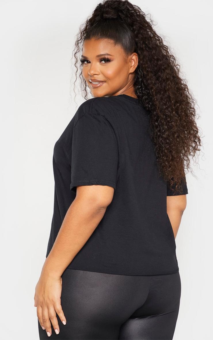 Plus Black Naughty Girl List Slogan Crop T-Shirt 2