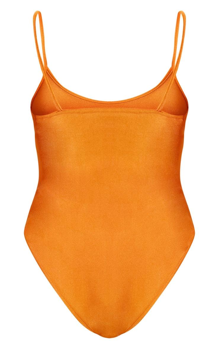 Orange Straight Neck Swimsuit 4
