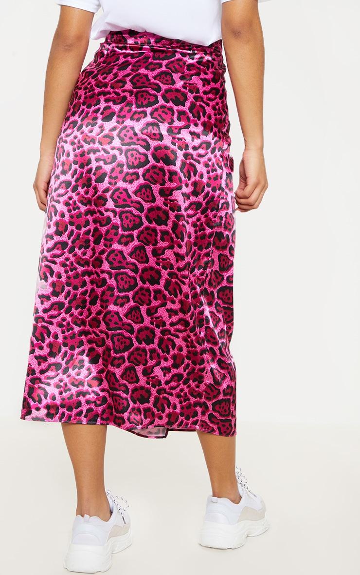 Hot Pink Leopard Print Wrap Detail Midiaxi Skirt 4