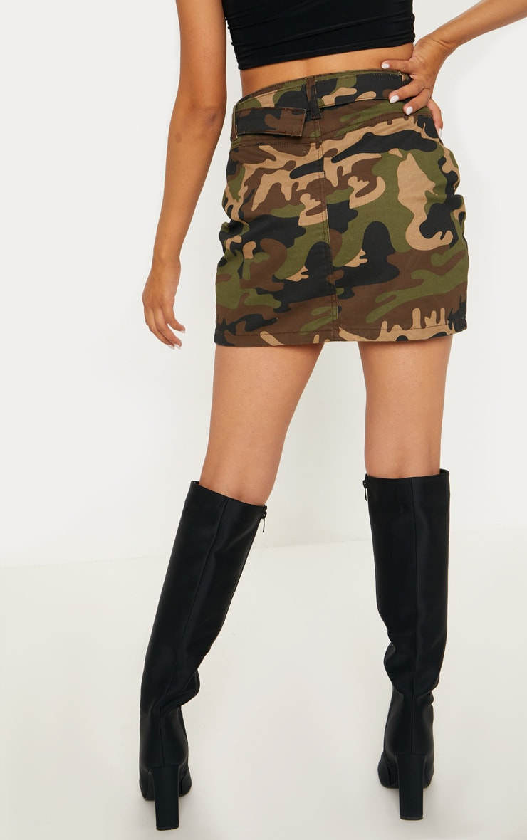 Camo O-Ring Belted Denim Skirt  4