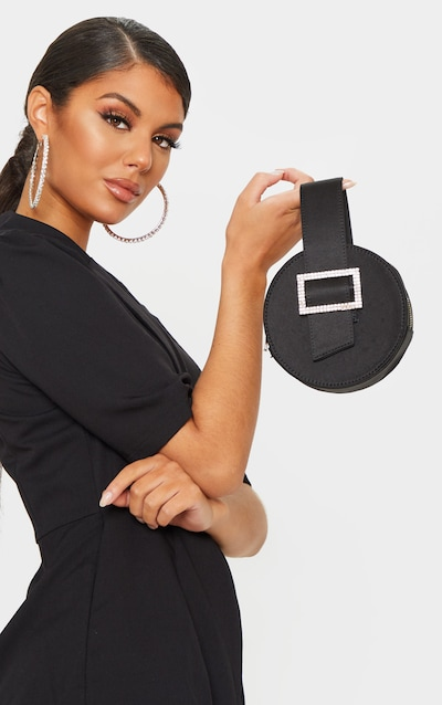 Black Satin Square Buckle Circle Grab Bag