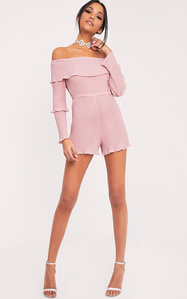 Gabriella Pink Pleated Frill Playsuit