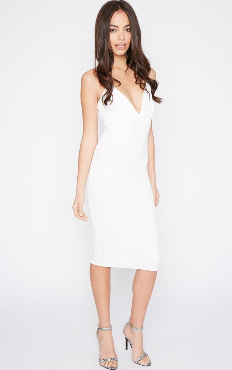 Britt White Cross Back Plunge Midi Dress 1