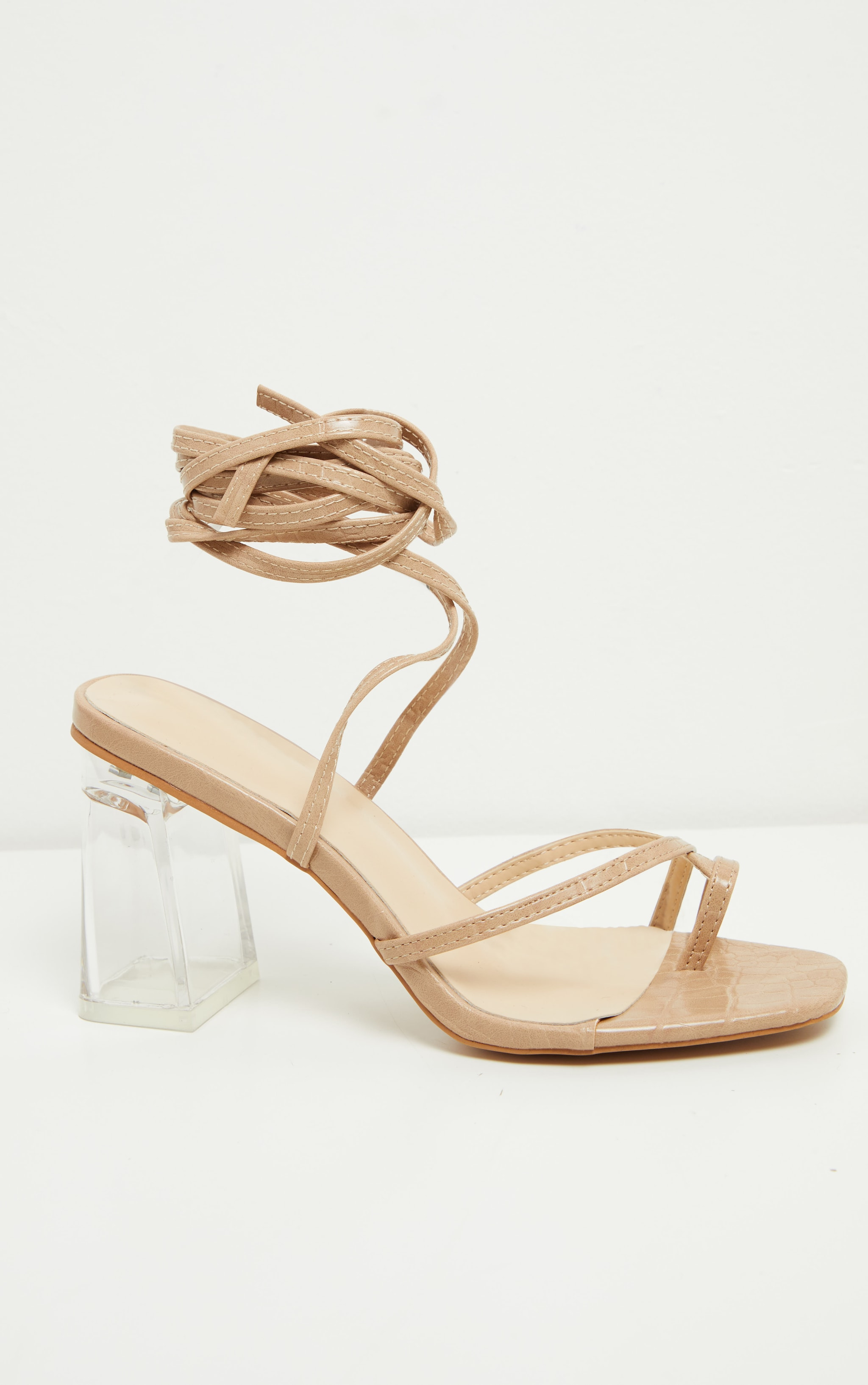 Nude Clear Block Heel Toe Loop Ankle Lace Up Sandals 5